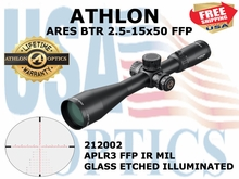 "ATHLON ARES BTR 2.5-15X50 APLR3 FFP IR MIL ILLUMINATED  <font color = ""red""> LIMITED AVAILABILITY</FONT>"