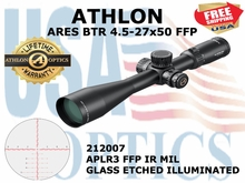 "ATHLON ARES BTR 4.5-27x50 APLR3 FFP IR MIL ILLUMINATED <font color = ""red""> LIMITED AVAILABILITY</FONT>"