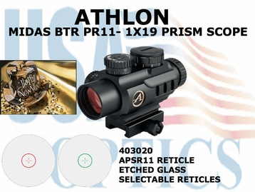 ATHLON MIDAS BTR PR11 - 1X19 PRISM SCOPE APSR 11 RETICLE (show demo)