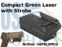 COMPACT PISTOL GREEN LASER with STROBE