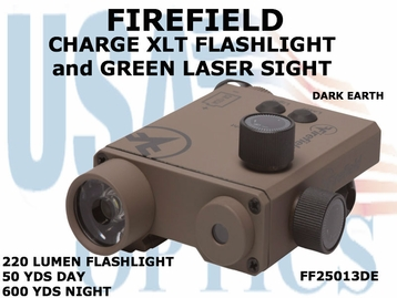 FIREFIELD CHARGE XLT FLASHLIGHT and GREEN LASER SIGHT- DARK EARTH