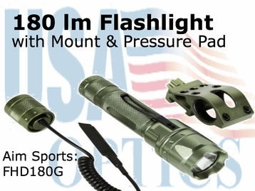 (SPEC) FLASHLIGHT 180 LUMENS WITH OFFSET MOUNT/GREEN
