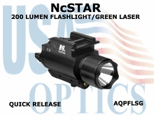 NcSTAR 200 LUMENS FLASHLIGHT & GREEN LASER with QR MOUNT