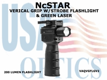 NcSTAR VERTICAL GRIP W/STROBE FLASHLIGHT & GREEN LASER