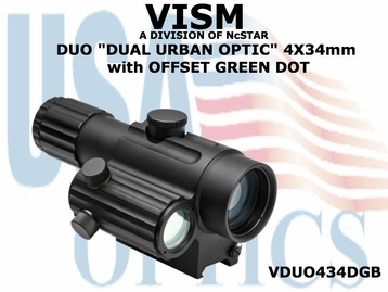 "NcSTAR DUO ""DUAL URBAN OPTIC"" 4X34mm with OFFSET GREEN DOT"