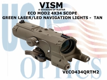 VISM ECO MOD2 4X34 SCOPE w/GREEN LASER/LED NAVIGATION LIGHTS  - TAN