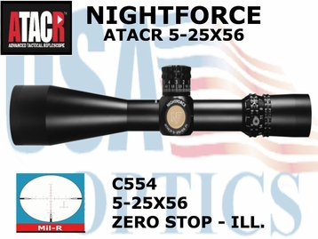 NIGHTFORCE ATACR 5-25x56 MIL-R WITH ZERO STOP - ILL.