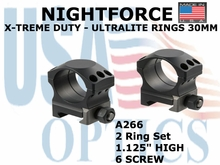 "NIGHTFORCE X-TREME DUTY  ULTRALITE RINGS 30MM <BR> 1.125"" HIGH (6 SCREW)"