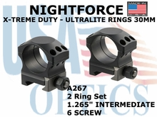 "NIGHTFORCE X-TREME DUTY ULTRALITE RINGS 30MM <BR> 1.265"" INTERMEDIATE (6 SCREW)"