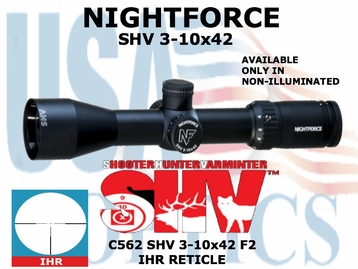 <FONT COLOR = RED>THIS ITEM HAS BEEN DISCONTINED BY NIGHTFORCE</FONT> SHV 3-10x42 IHR NON ILLUMINATED