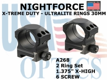 "NIGHTFORCE X-TREME DUTY ULTRALITE RINGS 30MM<BR>1.375"" X-HIGH (6 SCREW)"