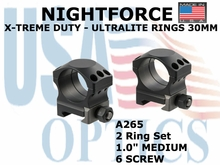 "NIGHTFORCE X-TREME DUTY - ULTRALITE RINGS 30MM <BR> 1.0"" MEDIUM (6 SCREW)"