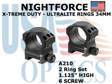 "NIGHTFORCE X-TREME DUTY  ULTRALITE RINGS 34MM <BR> 1.125"" HIGH (6 SCREW)"