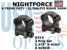 "NIGHTFORCE X-TREME DUTY ULTRALITE RINGS 34MM<BR>1.375"" X-HIGH (6 SCREW)"