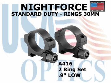 "NIGHTFORCE STANDARD DUTY RINGS 30MM <BR> .09"" LOW"