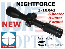 NIGHTFORCE SHV 3-10x42 MOAR NON ILLUMINATED