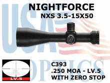 NIGHTFORCE NXS 3.5-15x50 LV.5 WITH ZERO STOP