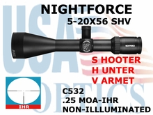 NIGHTFORCE SHV 5-20x56 IHR NON-ILLUMUNATED