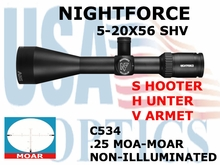 NIGHTFORCE SHV 5-20x56 MOAR NON-ILLUMINATED