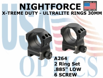 "NIGHTFORCE X-TREME DUTY ULTRALITE RINGS 30MM <BR> .885"" LOW (6 SCREW)"