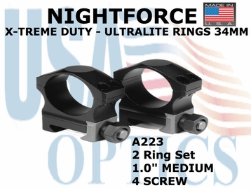 "NIGHTFORCE X-TREME DUTY  ULTRALITE RINGS 34MM <BR> 1.0"" MEDIUM (4 SCREW)"