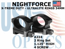 "NIGHTFORCE X-TREME DUTY  ULTRALITE RINGS 34MM <BR> 1.125"" HIGH (4 SCREW)"