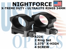 "NIGHTFORCE X-TREME DUTY ULTRALITE RINGS 34MM<BR>1.375"" X-HIGH (4 SCREW)"