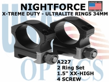 "NIGHTFORCE X-TREME DUTY ULTRALITE RINGS 34MM<BR>1.5"" XX-HIGH (4 SCREW)"