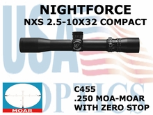 NIGHTFORCE NXS 2.5-10X32 COMPACT MOAR WITH ZERO STOP
