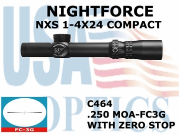 NIGHTFORCE NXS 1-4x24 COMPACT FC-3G WITH ZERO STOP <STRONG><FONT COLOR = RED>THIS ITEM HAS BEEN DISCONTINUED BY NIGHTFORCE</FONT></STRONG><BR>