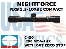 NIGHTFORCE  NXS 2.5-10x32 COMPACT IHR WITH OUT ZERO STOP
