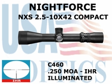 NIGHTFORCE NXS 2.5-10X42 COMPACT IHR ILLUMINATED