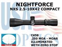 NIGHTFORCE NXS 2.5-10X42 COMPACT ILLUMINATED WITH ZERO STOP