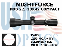 NIGHTFORCE NXS 2.5-10X42 COMPACT MV ILLUMINATED WITH ZERO STOP
