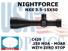 NIGHTFORCE NXS 3.5-15x50 MOAR WITH ZERO STOP