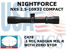 NIGHTFORCE NXS 2.5-10X32 COMPACT MIL-R WITH ZERO STOP
