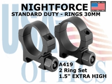 "NIGHTFORCE STANDARD DUTY RINGS 30MM<BR>1.25"" EXTRA HIGH"