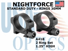 "NIGHTFORCE STANDARD DUTY RINGS 30MM<BR>1.25"" HIGH"