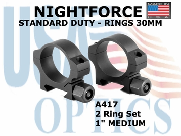 "NIGHTFORCE STANDARD DUTY RINGS 30MM <BR> 1"" MEDIUM"