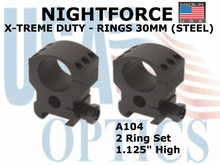 "NIGHTFORCE X-TREME DUTY RINGS<BR> 30 MM (STEEL) <BR> 1.125"" HIGH"