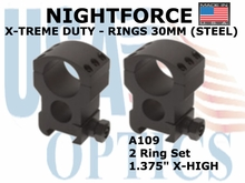"NIGHTFORCE X-TREME DUTY RINGS 30MM (STEEL) <BR> 1.375"" X-HIGH"