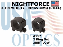 "NIGHTFORCE X-TREME DUTY RINGS 30MM (STEEL) <BR> .885"" LOW"