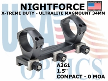 "NIGHTFORCE X-TREME DUTY ULTRALITE COMPACT MAGMOUNT 34MM 1.5""  0 MOA"