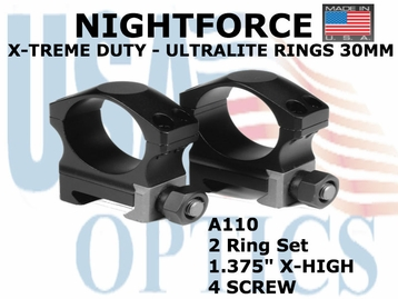 "NIGHTFORCE X-TREME DUTY ULTRALITE RINGS 30MM<BR>1.375"" X-HIGH (4 SCREW)"