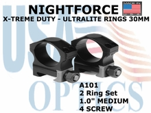 "NIGHTFORCE X-TREME DUTY  ULTRALITE RINGS 30MM <BR> 1.0"" MEDIUM (4 SCREW)"