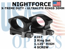 "NIGHTFORCE X-TREME DUTY  ULTRALITE RINGS 30MM <BR> 1.125"" HIGH (4 SCREW)"