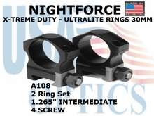 "NIGHTFORCE X-TREME DUTY ULTRALITE RINGS 30MM <BR> 1.265"" INTERMEDIATE (4 SCREW)"