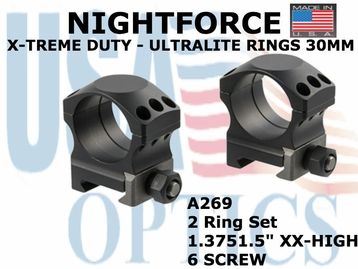 "NIGHTFORCE X-TREME DUTY ULTRALITE RINGS 30MM<BR>1.5"" XX-HIGH (6 SCREW)"