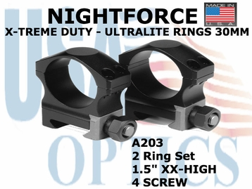 "NIGHTFORCE X-TREME DUTY ULTRALITE RINGS 30MM<BR>1.5"" XX-HIGH (4 SCREW)"