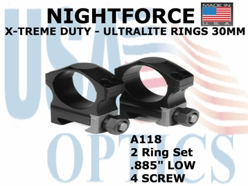 "NIGHTFORCE X-TREME DUTY ULTRALITE RINGS 30MM <BR> .885"" LOW (4 SCREW)"
